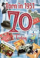 Male 70th Birthday Greeting Card Milestone Age 70 Him Born in 1951 Facts Inside