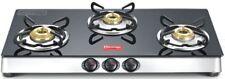 Prestige Marvel 3 Burner Cooktop Glass Top Range Black Gas Stove Manual Ignition