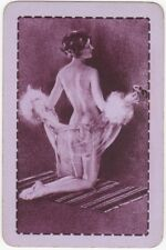 Playing Cards 1 Single Swap Card - Old Vintage RISQUE LADY GIRL Artist Signed