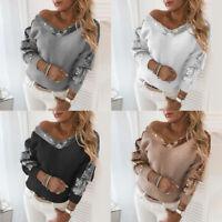 Women Half Shoulder Long Sleeve Sweater Pullovers Jumper Ladies Tops Knit Blouse