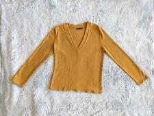 Zara Size XL Women Yellow Mustard Knit V-Neck Long Sleeve Sweater