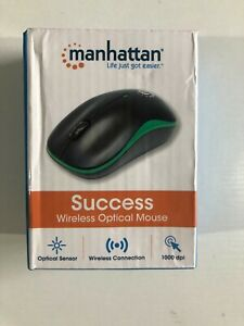 Manhattan - SUCCESS - Wireless OPTICAL Mouse - Green & Black - NEW