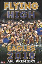"AFL WEST COAST EAGLES 2018 PREMIERSHIP POSTER brand new ""FLYING HIGH"" KENNEDY"