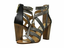 Dolce Vita Nolin Snake Embossed Sandals in Black/White Snake Leather (Size 9.5)