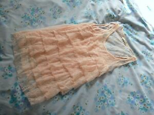 OASIS XS Light Pink Lace Layered Vest Top Tiered Lined Sleeveless