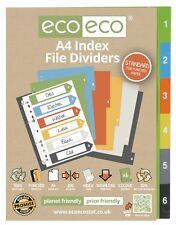 Conjunto de 1 X 6pk Eco-Eco A4 50% de plástico reciclado carpeta de archivo índice divisores