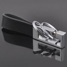 2 Loops Black Leather Zinc Alloy Strap Keychain Keyring Key Chain Ring Key Fob