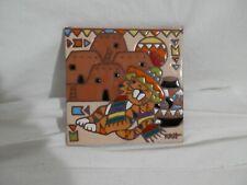 Vintage Earthtones Southwest Art Tile Siesta Cat Hand Painted Trivet