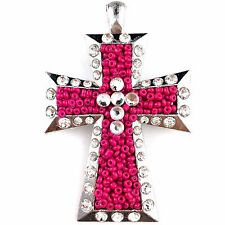 Western Cowgirl Montana Vintage Pink Beads Rhinestone Hand-made Cross Pendant