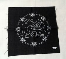 "Bucilla 46230 Denim Wordly Elephant Stamped Cross Stitch 6"" Design Fabric Only"