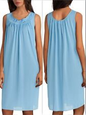 NWT $30 Miss Elaine Waltz Nightgown LARGE Marina Blue Slvless Embroidered Nylon