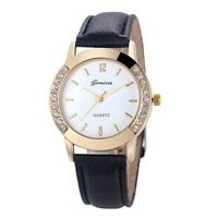 Fashion Women's Watch Geneva Leather Band Rhinestone Analog Quartz Wrist Watches
