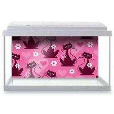 Fish Tank Background 90x45cm - Pink Elegant Cat Hearts Flowers  #14797