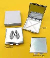 Cavalier King Charles Spaniel Dog Polished Metal Square Pill Box Gift