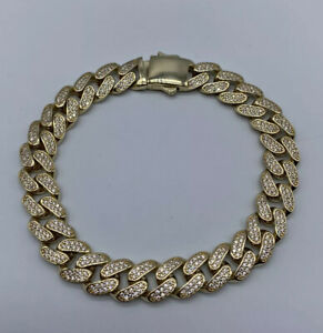 9ct Yellow Gold Mens 10mm Cuban/Miami Curb Link Hallmarked Cz Bracelet + Chains