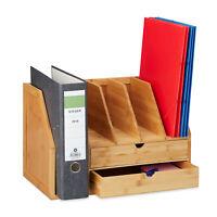 Zeitschriftensammler Bambus Ablagesystem 2 Schubladen Büroablage A4 Stehsammler