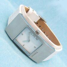 Fossil FUEL Damen Armband Uhr Edelstahl Leder weiß JR-9940 5ATM Batterie neu N97
