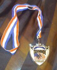 Tae Kwon Do Olympia Medal Canton Michigan Silver Shield Us Flag & Eagle Ribbon