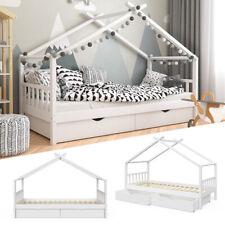 VITALISPA Kinderbett DESIGN Hausbett Schubladen und Lattenrost in weiß 90x200
