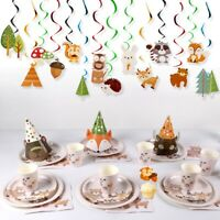 Woodland Animal Banner Tableware Baby Shower Kids Birthday Party Decor Supplies