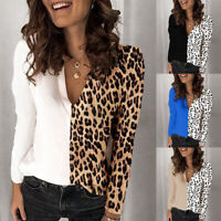 Womens Leopard Print Tops Ladies Long Sleeve Blouse Pullover V Neck Shirts Tops