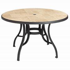 "Grosfillex Us527102 Charcoal/Toscana Louisiana 48"" Round Table w/ Metal Legs"