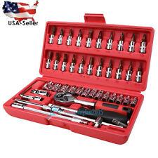46pc Spanner Socket Screwdriver Set 1/4 Car Repair Tool Ratchet Wrench Set Tool