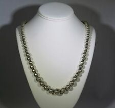 """Vintage Mexico 925 Sterling Silver Graduated Bead Necklace 31"""" Stamped TD-290"""