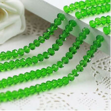 4mm 100pc Rondelle Faceted Crystal Glass Loose Spacer Beads Crafts Charms