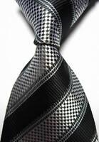 New Classic Stripes Black White JACQUARD WOVEN 100% Silk Men's Tie Necktie
