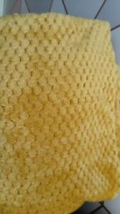Yellow Throw Ochre Mustard Waffle Blanket Cover NEW 125cm x 150cm