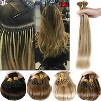 100% Remy Russian Human Hair Extensions Micro Ring Bead I Tip STICK Hair 100G US
