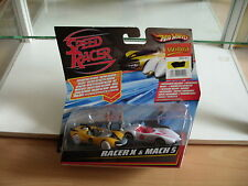 Hotwheels Speed Racer Set Racer X + Mach 5 in Yellow/White on Blister