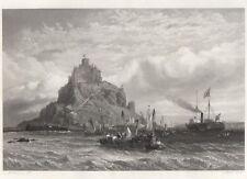 """Original """"art journal"""" PRINT - """"Royal Yacht au large de St. Michael's mount"""" (1855)"""