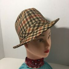 Vintage Ll Bean Inc. Plaid Trilby Panama Fedora Hat Size 6 3/4 Small Excellent