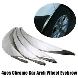 4X Chrome Car Wheel Eyebrow Protector Strip Trim Lip Fender Flare Decor Sticker