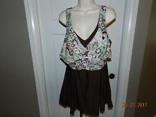Suit Yourself Plus Size Swimdress Swimwear 20W Brown Floral