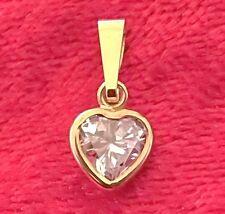 Herz Anhänger Echt Gold 333 ZIRKONIA im Brillantschliff Diamant Gelbgold Smaragd