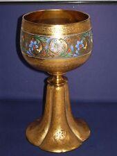 Moser antique art glass goblet chalice huge gold gilded and enameled estate