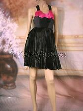 $5595 New LANVIN PARIS Sexy Black Hot Fuchsia Pink Pin Tuck Pleated Dress 38 6
