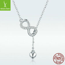 S925 Sterling Silver Infinite Charm Necklace Heart Chain Wish You Beauty Forever
