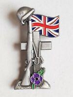 Poppy Day Helmet Boots Riffle Cross Purple Poppy Silver Enamel Pin Badge Brooch