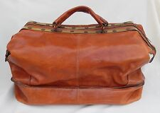 Vtg. Valentino Master Large Leather Duffel Travel Bag W/Brass Accents Made ITALY