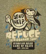 REFUGE SKATEBOARD SHOP med T shirt 2005 Hurricane Relief Game tee Dearborn MI