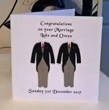 "Gay Same Sex Wedding Marriage Card Personalised 6""sq Mr & Mr Male Grooms Red Tie"