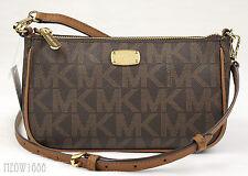 New Michael Kors JET SET Brown Logo Signature Pouchette Crossbody Purse Bag $198