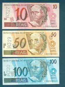 Lot of 3 Brazil Specimen Brasil Modelo 1993-1994, 10, 50, 100 Reais