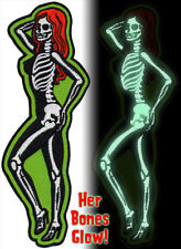 Patch Skeletal Girl Glow in the Dark Side Dead Pin Up Rockabilly Horror NFP033