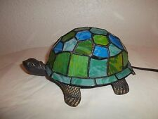 Vintage Turtle Painted Glass With Multiple Color Desk Lamp Night Light