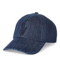 "Polo Ralph Lauren Big Pony Dark Indigo Denim ""3"" Twill Patch Baseball Hat Cap"